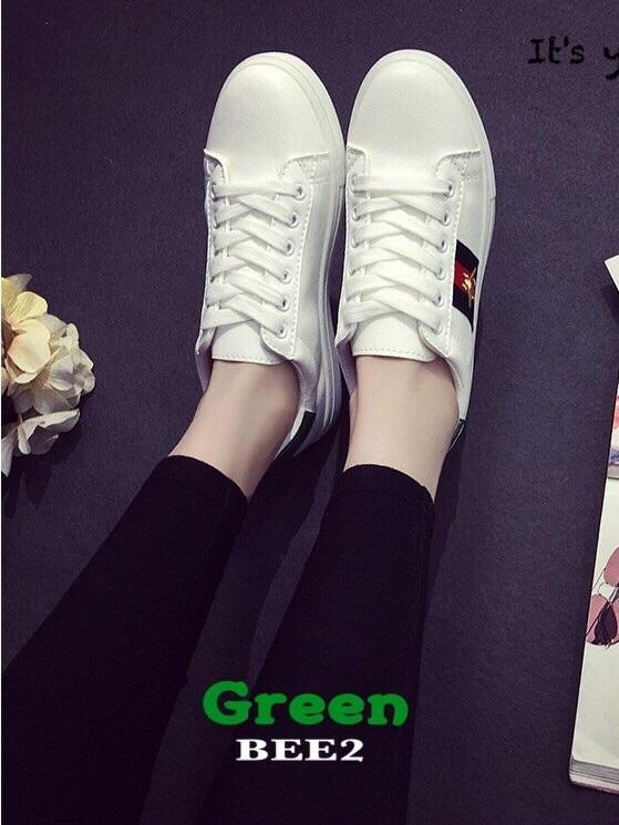 รองเท้าผ้าใบแฟชั่นสีเขียว แถบสีเขียว สไตล์ Gucci (สีเขียว )