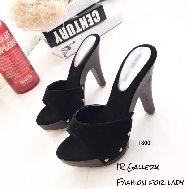 รองเท้าส้นสูงเปิดส้นสีดำ ใส่แล้วดูสูงเปรียว (สีดำ )
