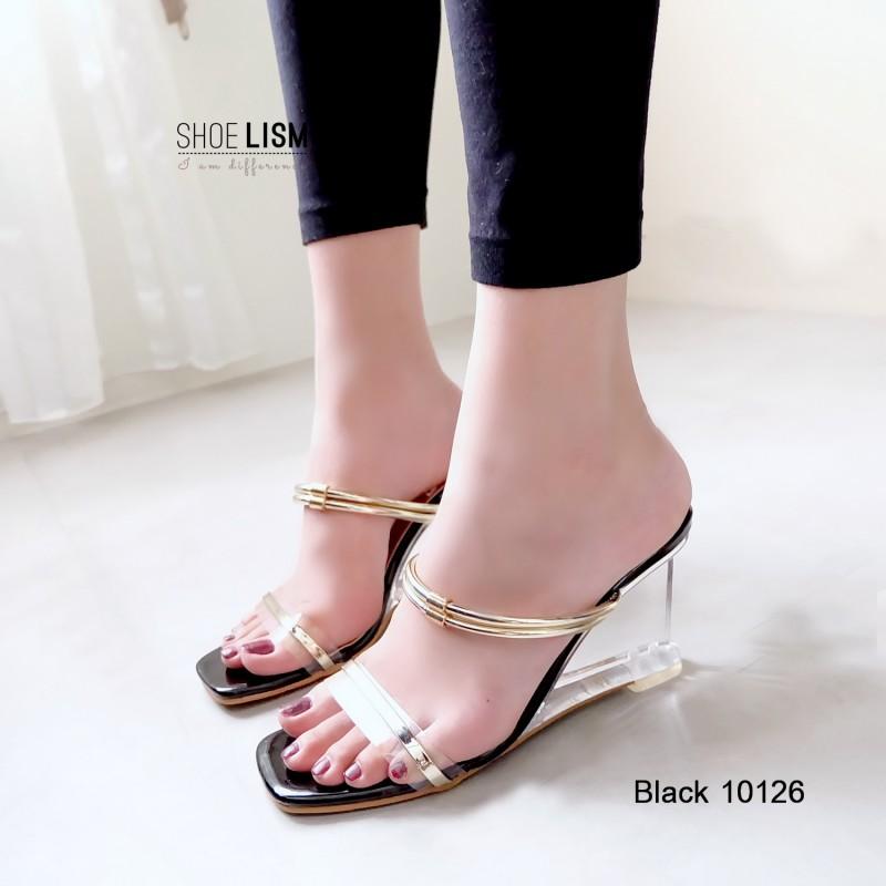 รองเท้าส้นสูงสีดำ เปิดส้น สไตล์ MAXI (สีดำ )