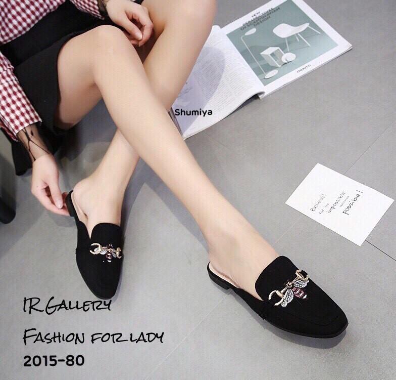 รองเท้าส้นเตี้ยเปิดส้นสีดำ ทรงสลิปเปอร์ Style Gucci (สีดำ )