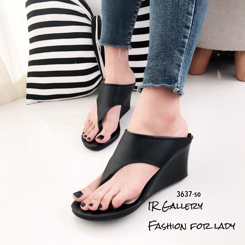 รองเท้าส้นเตารีดสีดำ แบบคีบ สไตล์ลำลอง (สีดำ )