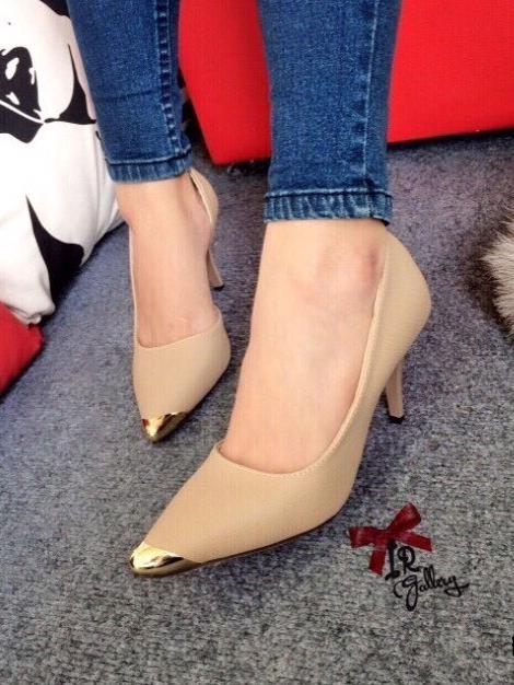 รองเท้าคัทชูส้นสูงหัวทองเปิดข้าง (สีแอปปริคอท )