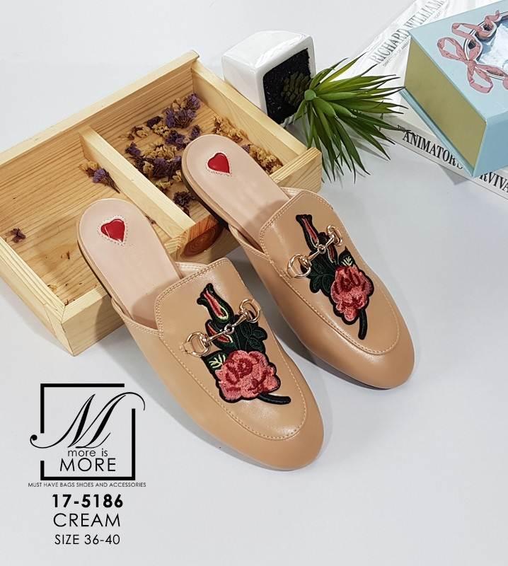 รองเท้าส้นแบนเปิดส้นสีครีม style แบรนด์ Gucci (สีครีม )
