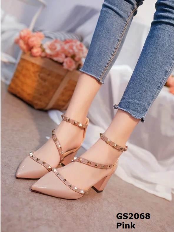 รองเท้าส้นตันหัวแหลมสีชมพู รัดข้อ สไตล์วาเลนติโน่ (สีชมพู )