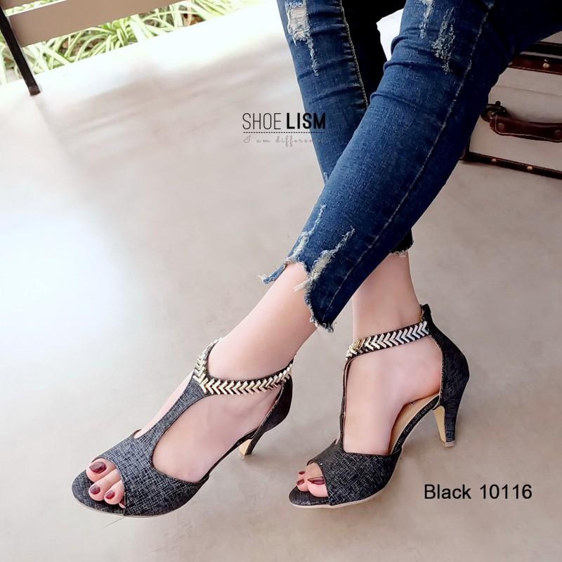 รองเท้าส้นสูงรัดข้อสีดำ เปิดหน้า ช่วงข้อเท้าแต่งลายก้างปลา (สีดำ )