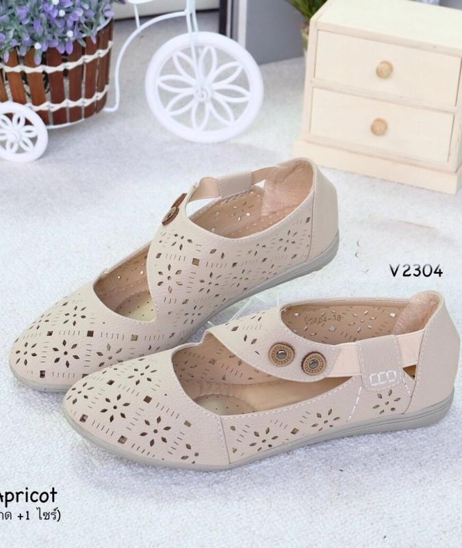 รองเท้าคัทชูแบบสายรัด ฉลุลาย แนววินเทจ (สีแอปปริคอท )