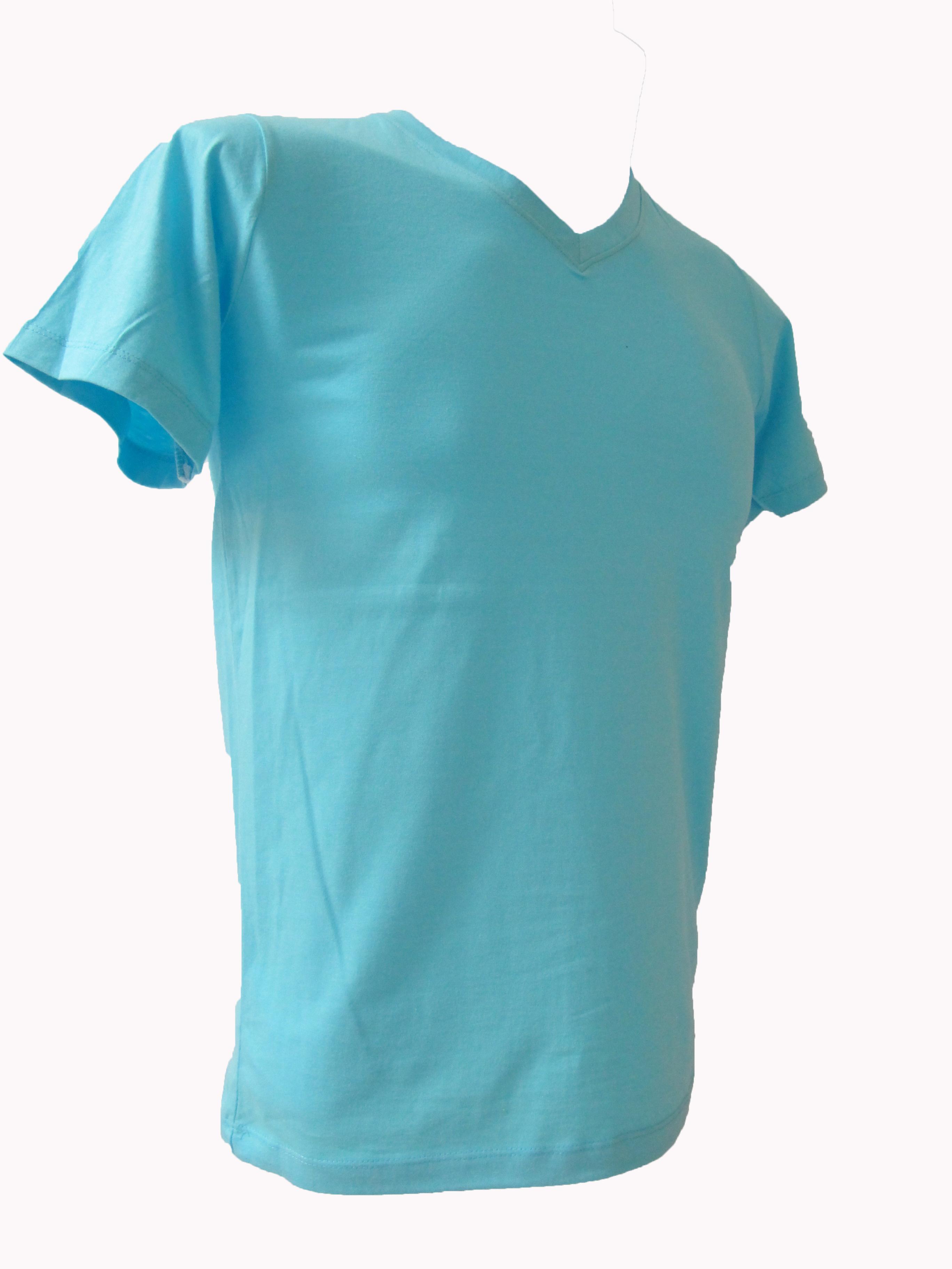 COTTON100% เบอร์32 เสื้อยืดแขนสั้น คอวี สีฟ้าอ่อน