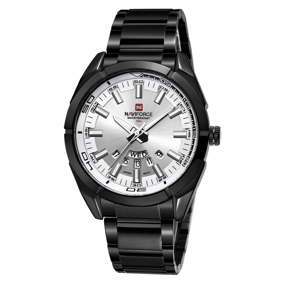 นาฬิกา Naviforce รุ่น NF9038M สีดำ หน้าเงิน ของแท้ รับประกันศูนย์ 1 ปี ส่งพร้อมกล่อง และใบรับประกันศูนย์ ราคาถูกที่สุด