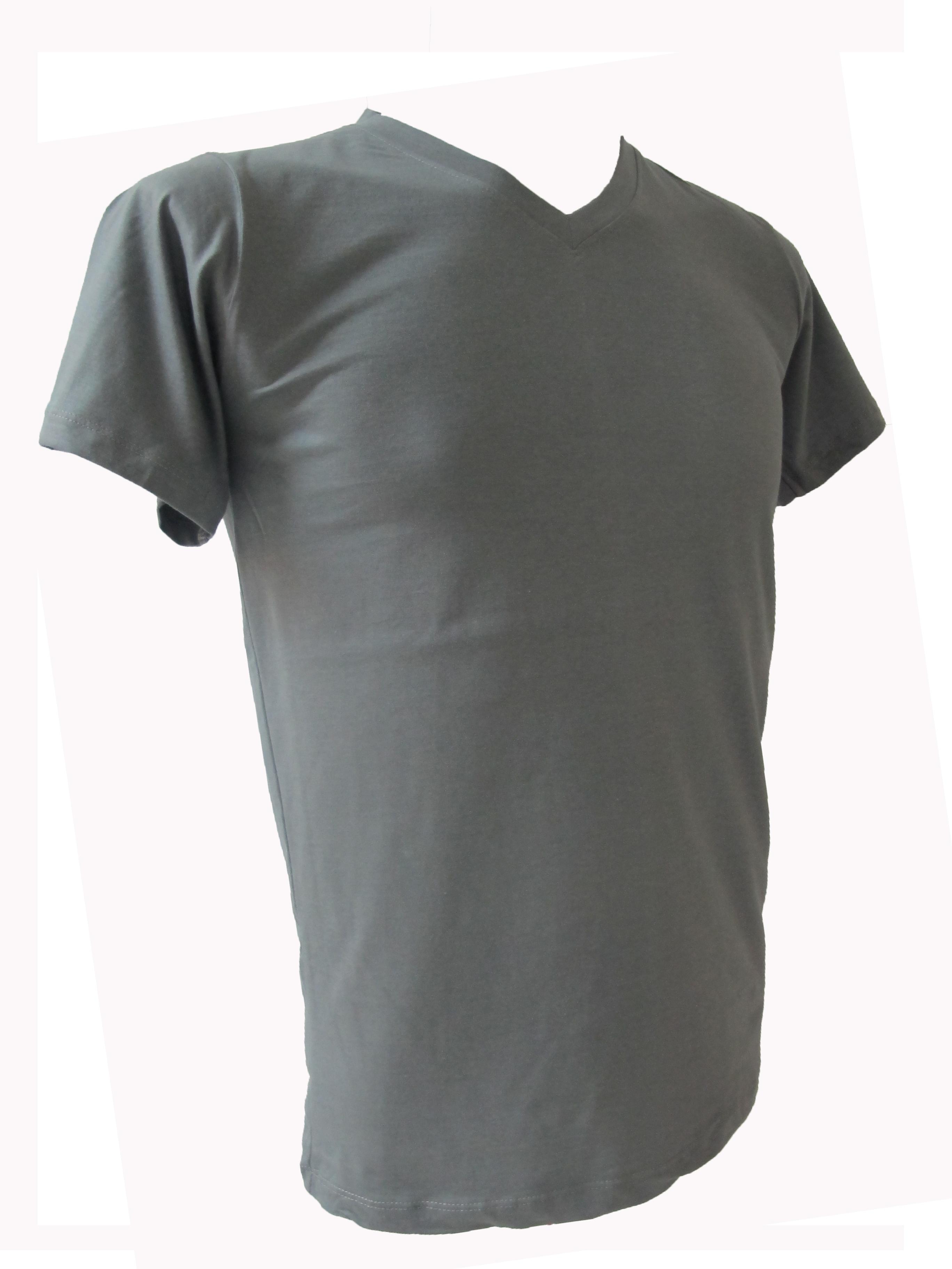 COTTON100% เบอร์32 เสื้อยืดแขนสั้น คอวี สีเทาอ่อน