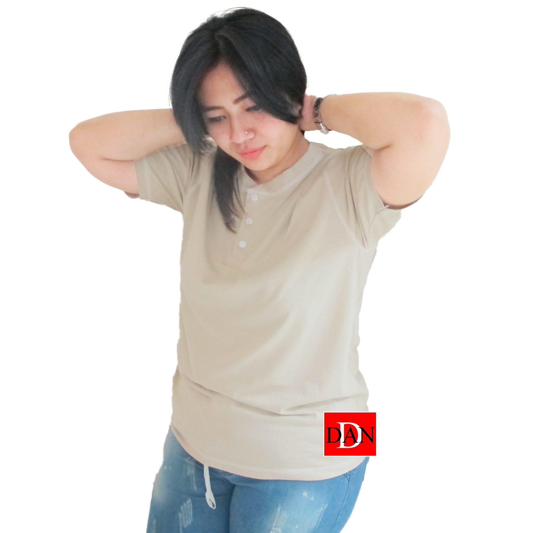 เสื้อยืดคอจีน Cotton100% XL สีกากี
