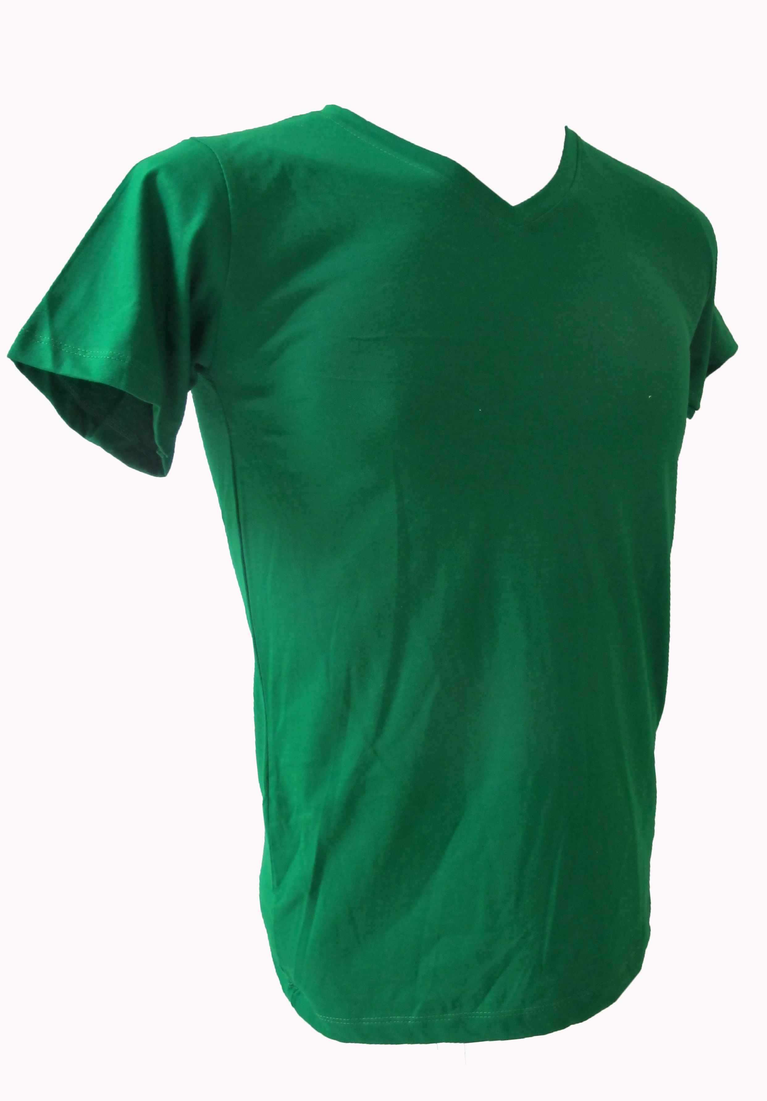COTTON100% เบอร์32 เสื้อยืดแขนสั้น คอวี สีเขียวไมโล