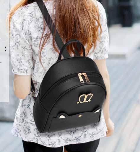 ขายส่ง กระเป๋าเป้สะพายหลัง ผู้หญิง แต่งหูกระต่าย แฟชั่นเกาหลี รหัส Yi-652 สีดำ