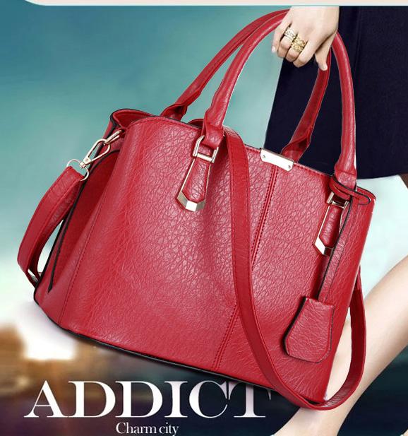 พร้อมส่ง กระเป๋าผู้หญิง ถือและสะพายข้างแฟชั่นสไตล์ยุโรป เรียบหรู รหัส KO-387 สีแดง