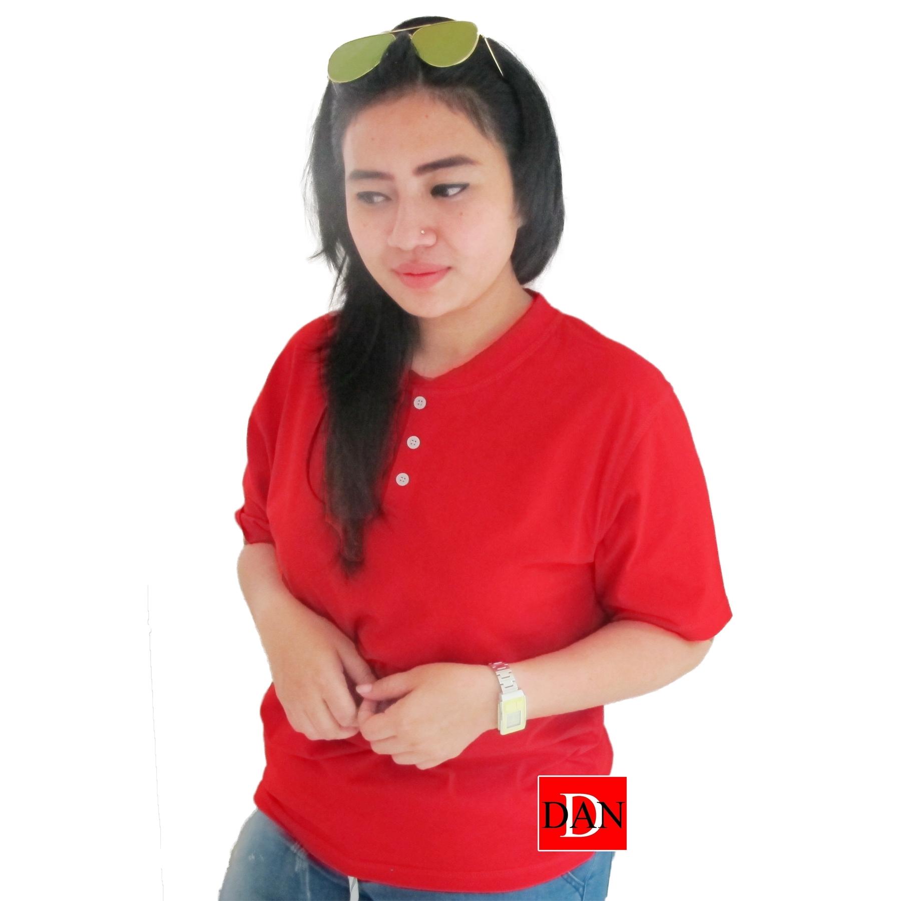 เสื้อยืดคอจีน Cotton100% XL สีแดง