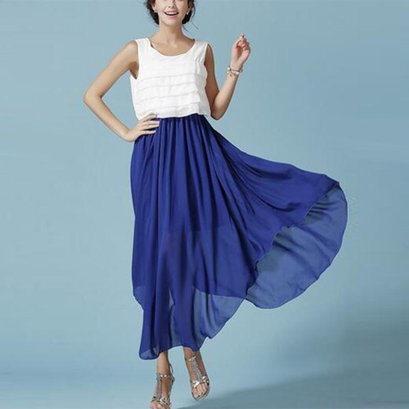 (Pre Order) ชุดเดรสยาวฤดูใบไม้ร่วงฤดูร้อนของผู้หญิง Vestidos o ชีฟอง ความยาวชุดผู้หญิงแฟชั่นฤดูร้อน สินค้ามี 2 สีให้เลือก ขนาดไซส์ S,M,L,XL,XXL