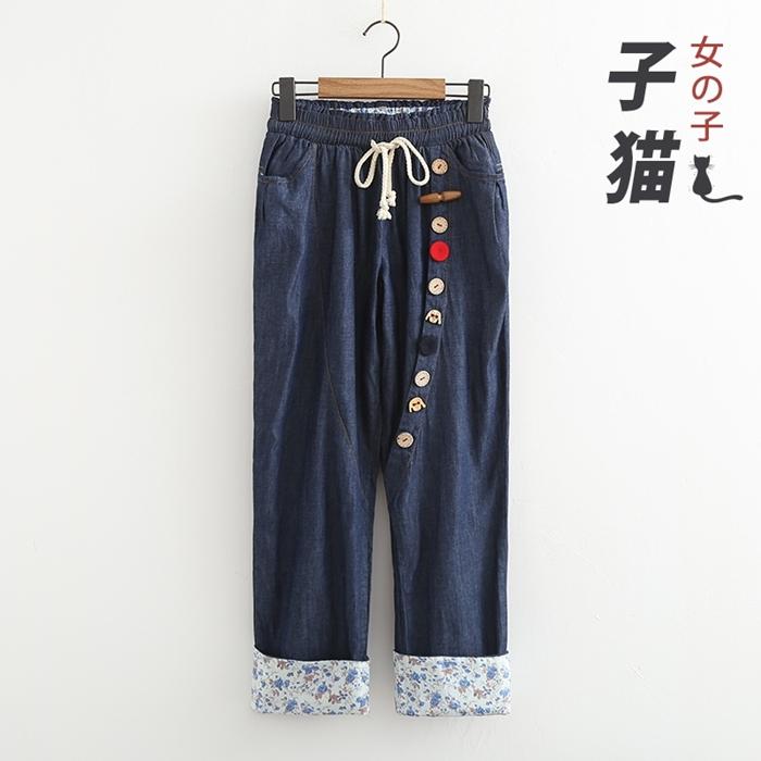 กางเกงเอวยืด แต่งกระดุม