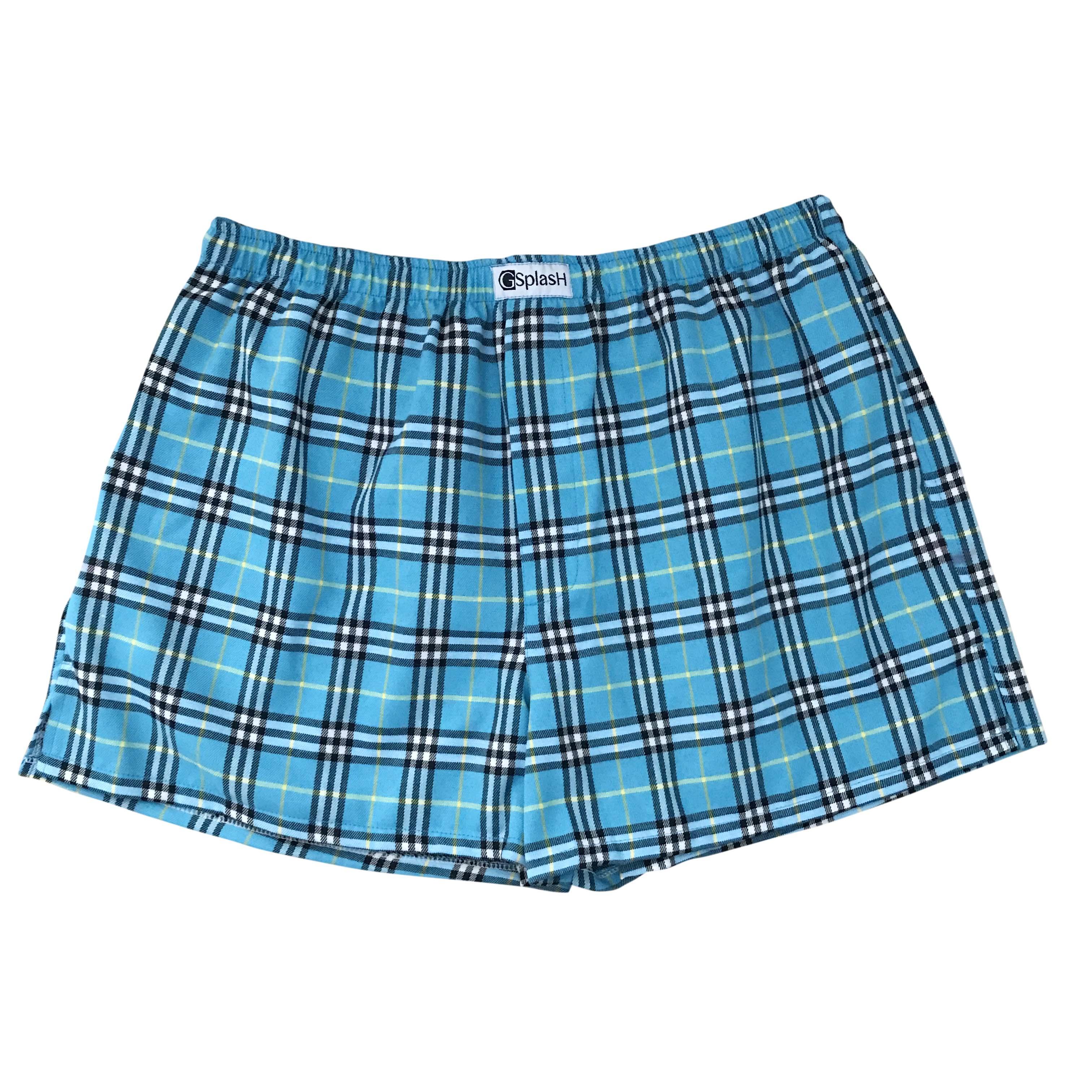 กางเกงบ๊อกเซอร์ลายสก๊อตสีฟ้า