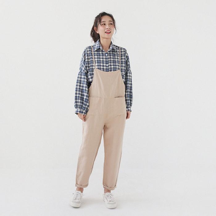 เอี๊ยมกางเกงผ้าฝ้ายขายาว สีกากี (มีให้เลือก 3 ไซส์)