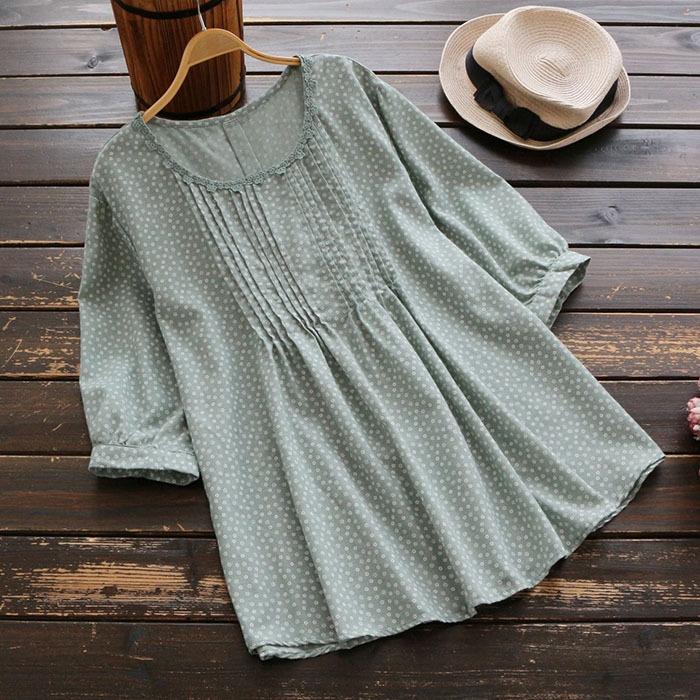 เสื้อเบลาส์ผ้าฝ้ายเย็บจีบ แขนสั้น (มีให้เลือก 3 สี)