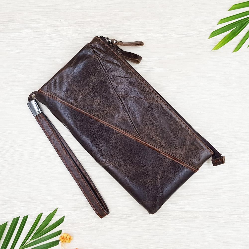 กระเป๋าสตางค์หนังแท้เเบบครัชท์ 2 ช่องซิปขนาดใหญ่ มีสายคล้องข้อมือ