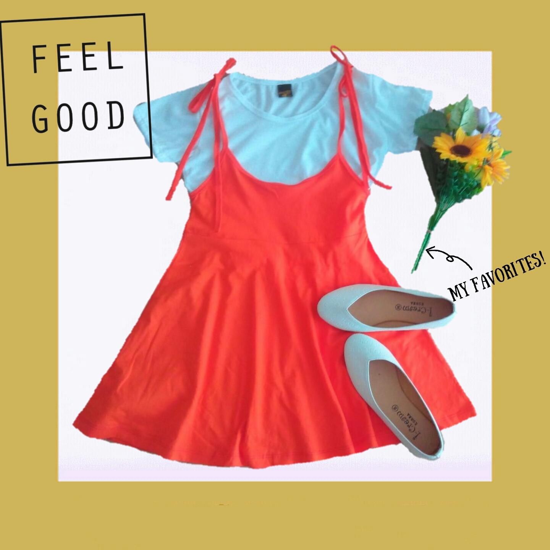 ชุดเอี๊ยมกระโปรง+เสื้อ เสื้อผ้าคอทต้อนมาพร้อมกับ เอี๊ยมกระโปรงผ้าโปโลสีส้ม ตัวเอี๊ยมเป็นสายผูก สามารถปรับระดับได้ งานน่ารักชิคๆ เสื้อ อก32-36 ยาว42ซม. เอี๊ยมเอว23-30 ยาว52ซม.