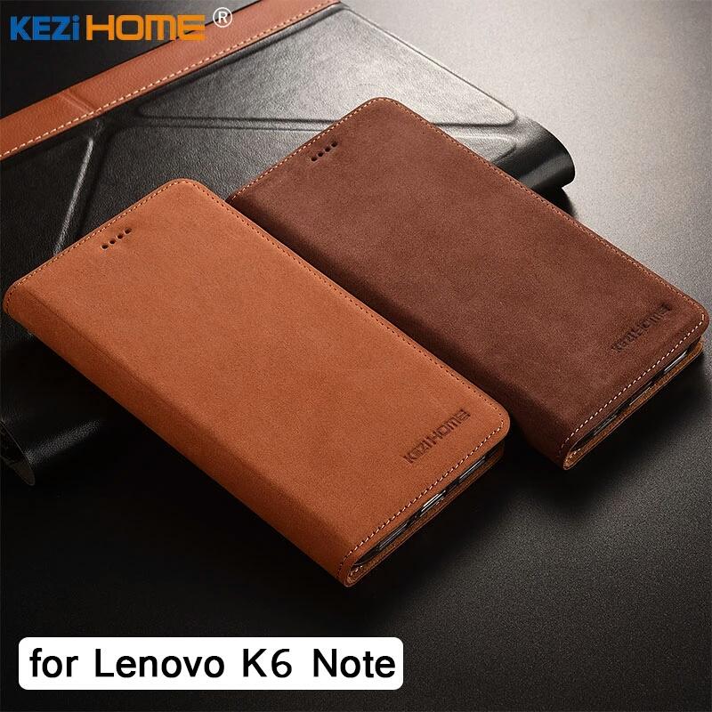 เคสหนังแท้ lenovo k6 note วัสดุคุณภาพสูงจับนุ่มมือ