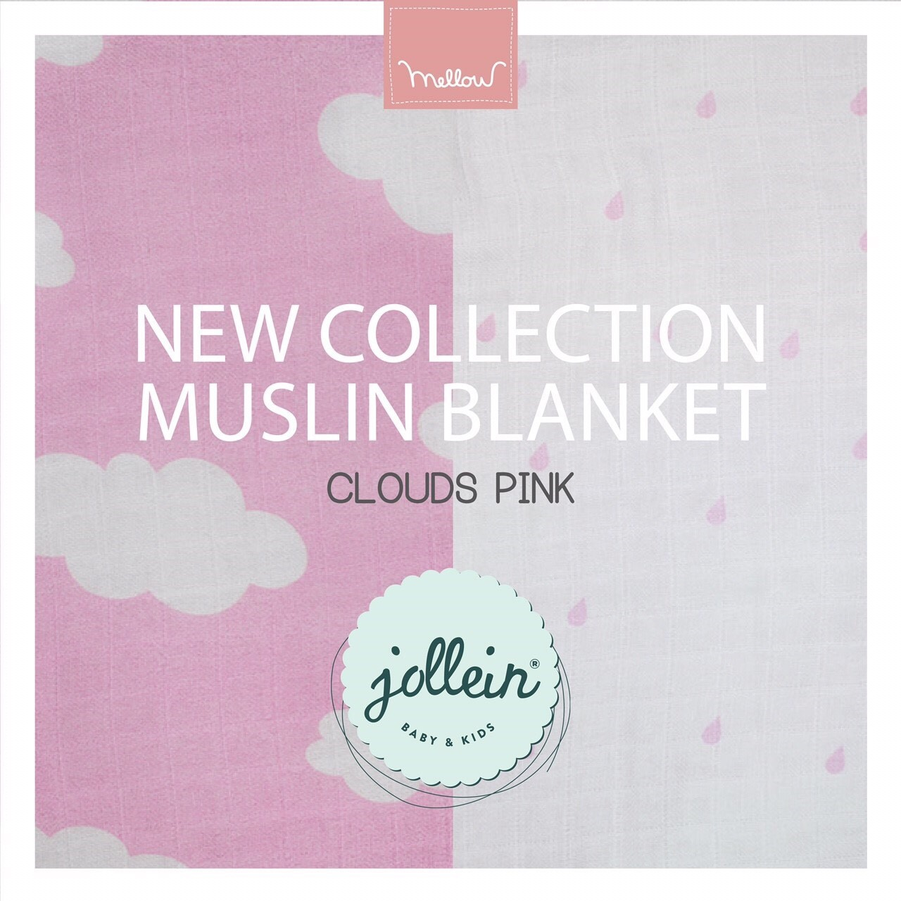 Jollein - Muslin blanket Cloud pink ผ้าห่มมัสลิน ทอ 8 ชั้้น ลายก้อนเมฆชมพู