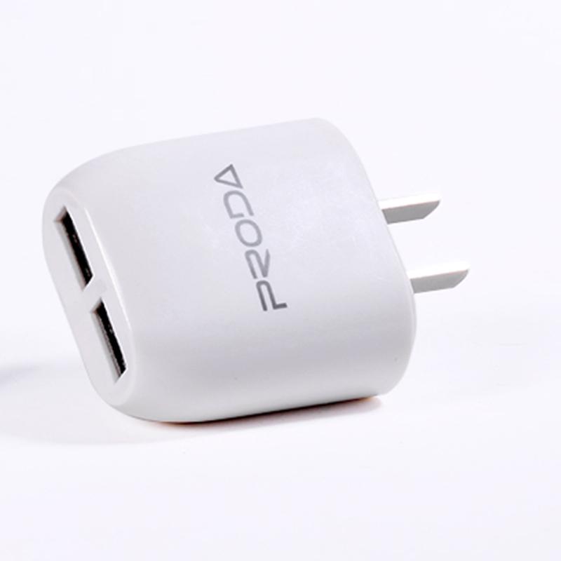 เต้าชาร์จ 2หัว REMAX แท้ USB Charger PRODA (สีขาว)