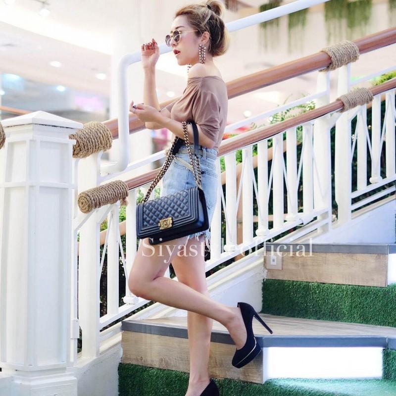 กระเป๋าสะพายแฟชั่น กระเป๋าสะพายข้างผู้หญิง CN คาเวียร์ 10 นิ้ว [สีดำ]