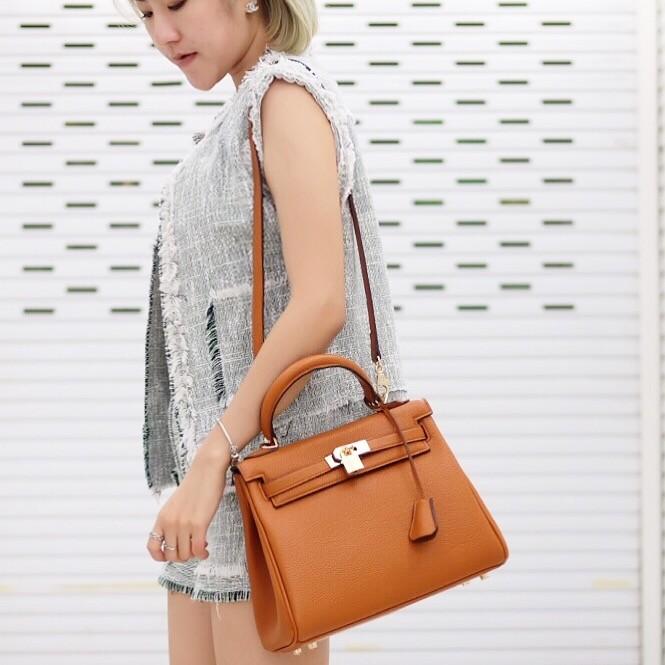 กระเป๋าครัช กระเป๋าถือ Kelly PU [สีส้ม]