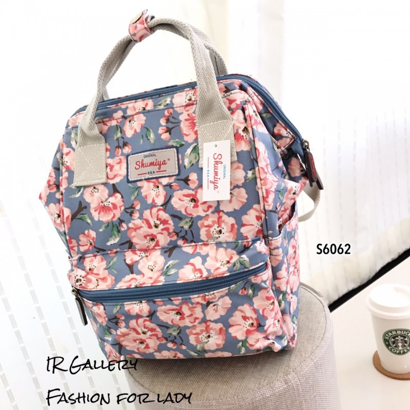 กระเป๋าเป้ผู้หญิง กระเป๋าสะพายหลังแฟชั่น วัสดุหนังเคลือบกันน้ำพิมพ์ลายสวยๆ ปากกว้าง 360องศา ลายดอกไม้ [สีฟ้า ]