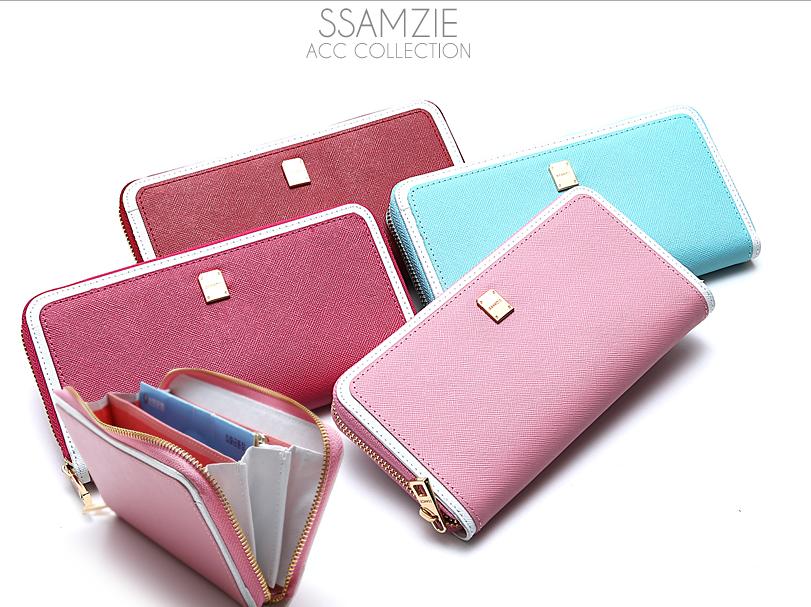 Pre-Order กระเป๋าสตางค์ใบยาวผู้หญิงจากเกาหลี SSAMZIE สีหวานเรียบหรูสดใส รูดซิป