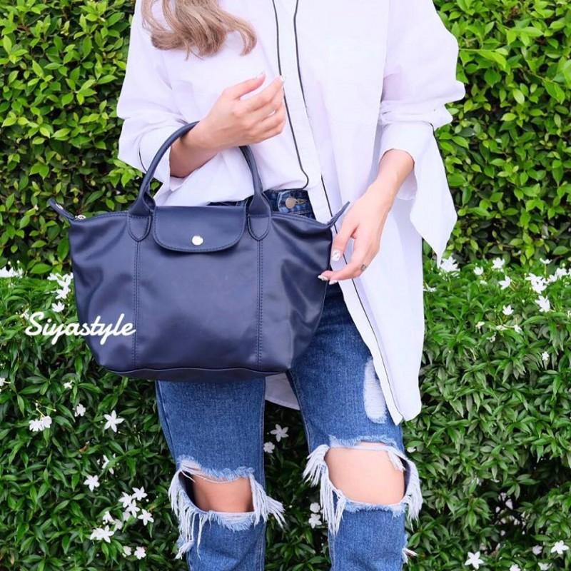 กระเป๋าสะพายแฟชั่น กระเป๋าสะพายข้างผู้หญิง ลองชอมหนัง Style [สีกรม ]