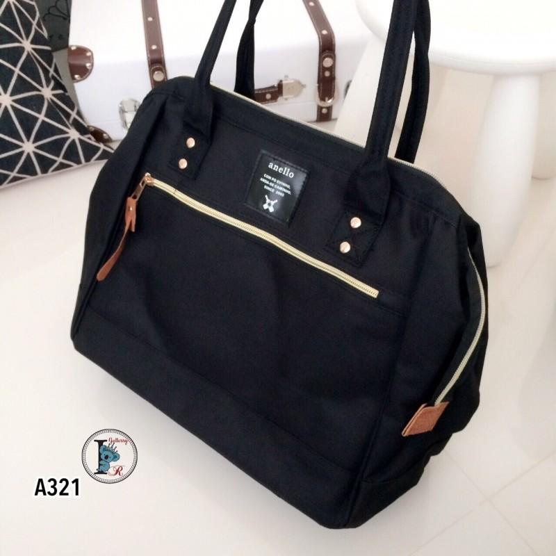 กระเป๋าสะพายแฟชั่น กระเปาสะพายข้างผู้หญิง ถือหรือสะพายไหล่ก็ได้ สไตล์แบรนด์ดัง Anello [สีดำ ]