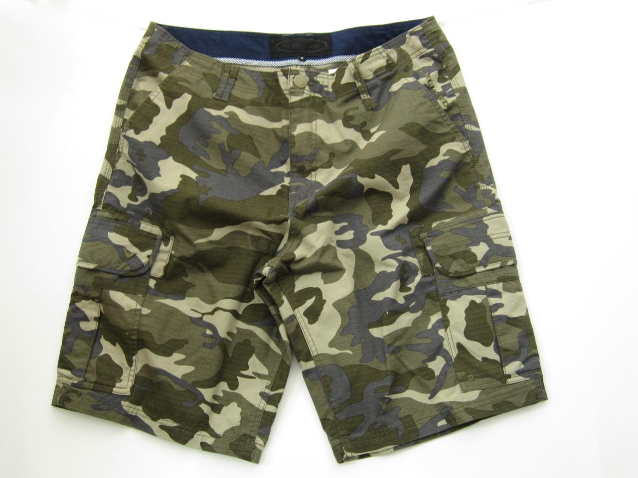 Brown Camo Cargo Shorts for Men - size 34