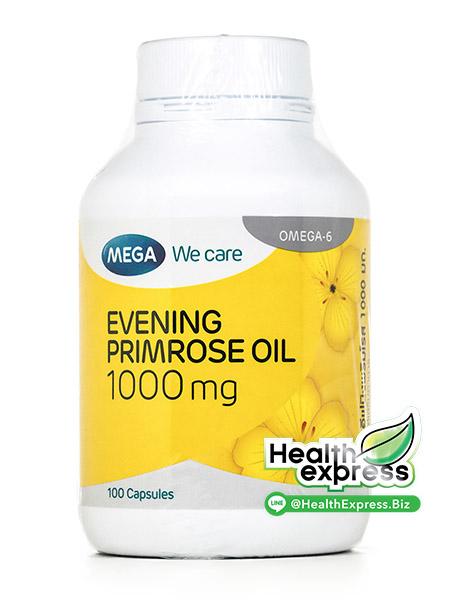 Mega We Care Evening Primrose Oil 1000 mg. เมก้า วี แคร์ น้ำมันอีฟนิ่งพริมโรส บรรจุ 100 แคปซูล