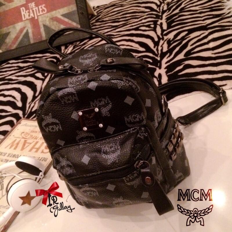 กระเป๋าเป้ผู้หญิง กระเปาสะพายหลังแฟชั่น หนังนิ่มคุณภาพดี Style MCM งานTop Mirror [สีดำ ]