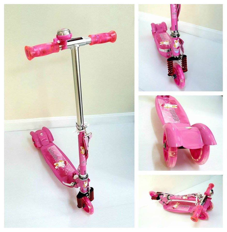 สกู๊ตเตอร์แบบ 3 ล้อ สำหรับเด็ก สีสวยมาก เล่นง่าย ปรับความสูงได้ (สีชมพู)