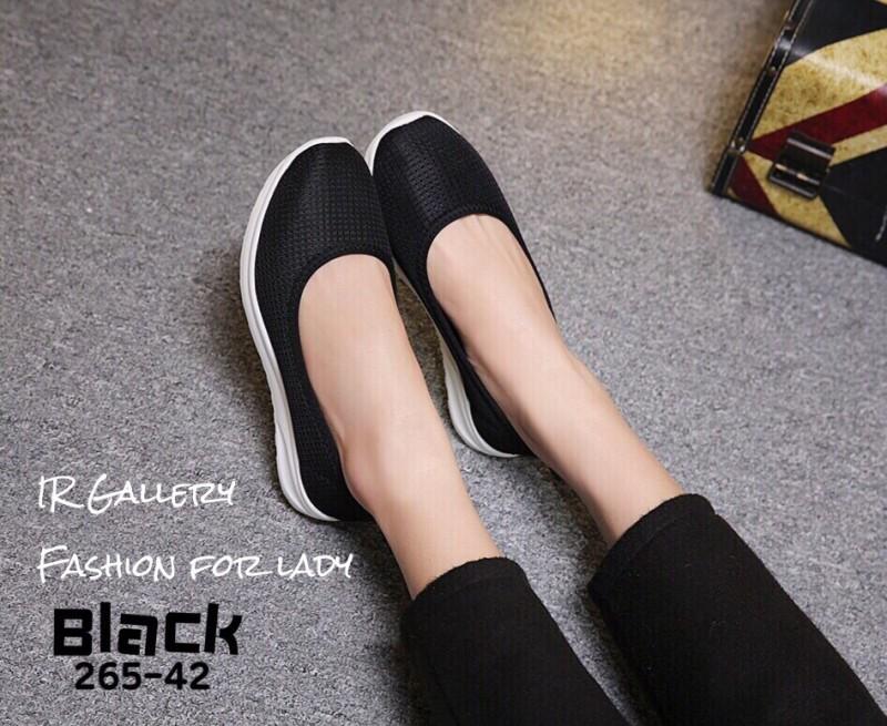 รองเท้าผ้าใบพื้นสุขภาพ 265-42-ดำ (สีดำ)