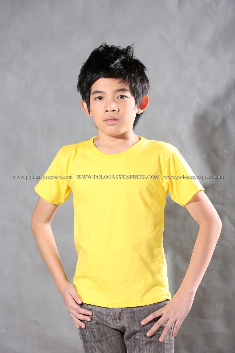 เสื้อยืดเด็ก สีเหลือง คอกลม แขนสั้น Size L