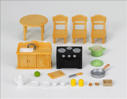 Sylvanian Families 1703 Country Kitchen Set with Cat sister
