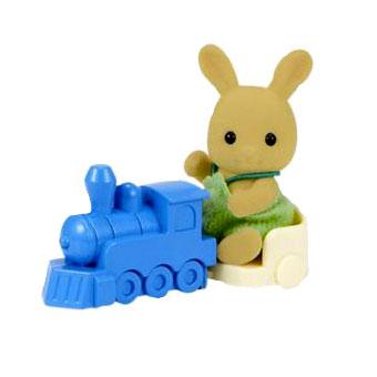 Sylvanian Families 1471 Ocher Rabbit Baby with Train