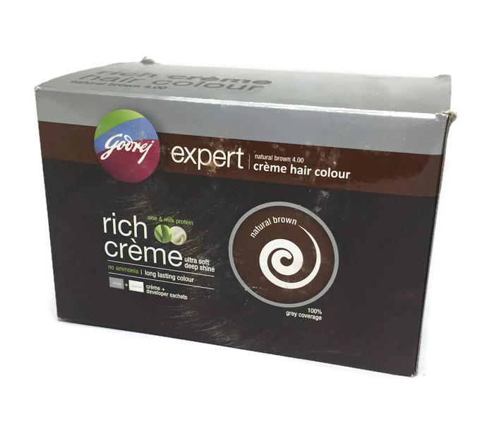 แชมพูเปลี่ยนสีผม Godrej Expert Cream Hair Colour Nartural Brown 4.0 1 กล่อง( 8 ซอง)