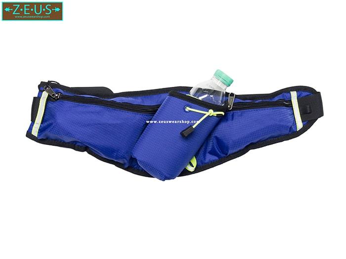 กระเป๋าคาดเอววิ่ง สีน้ำเงิน มีช่องใส่ขวดน้ำ ที่เก็บของ 2 ช่อง