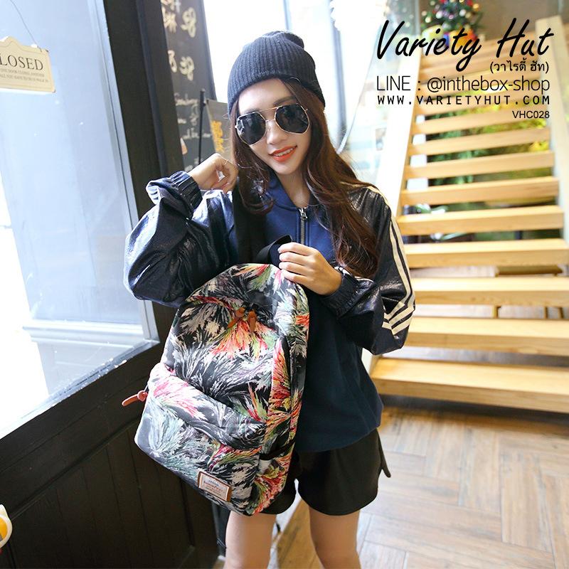 กระเป๋าเป้สะพายหลังใช้ได้ทั้งชาย-หญิง กระเป๋าเป้สไตล์เกาหลี - สีดำ (มี 2 ขนาด)