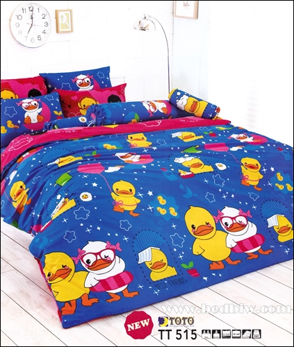 toto ชุดเครื่องนอน ผ้าปูที่นอนลายเป็นน่ารักตัวสีเหลืองอ่อน TT515
