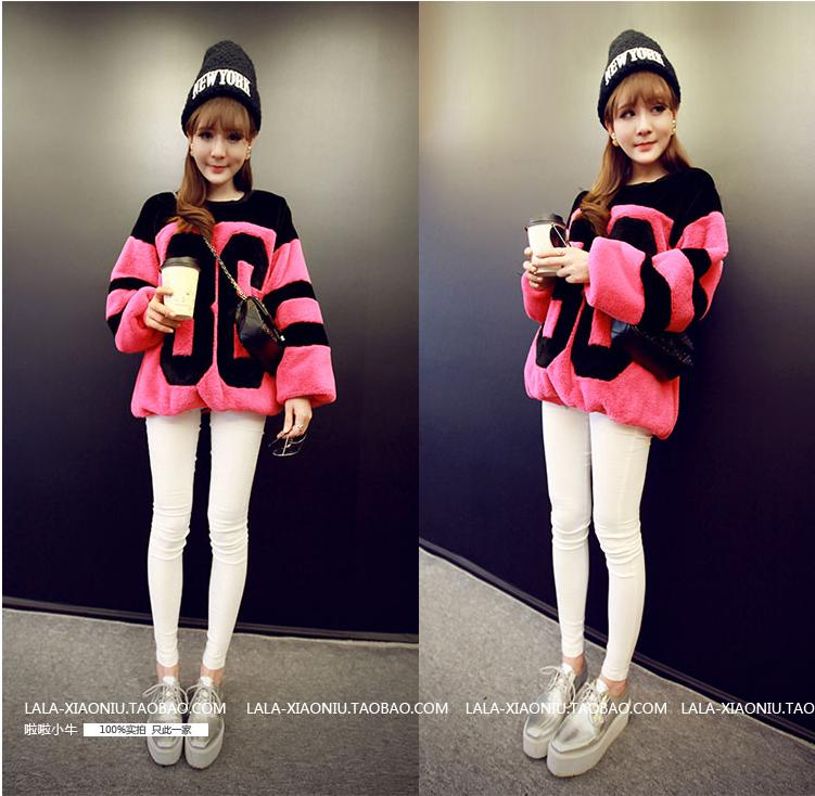 เสื้อกันหนาวแฟชั่นเกาหลีราคาถูกสีชมพู
