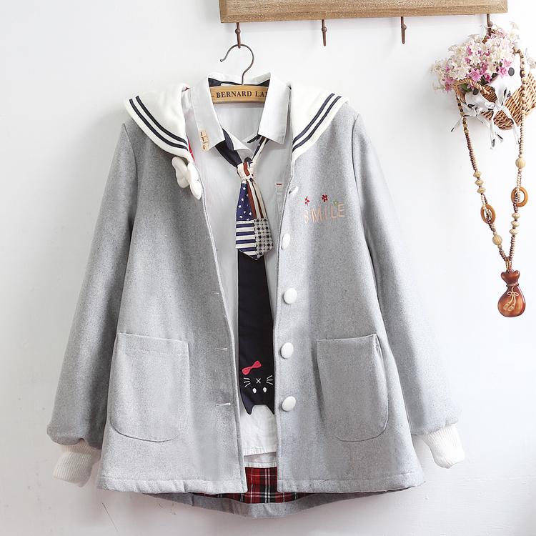 Pre-Order แจ๊คเก็ตผ้าWool คอปกกะลาสีสไตล์ Marine แขนจั๊ม