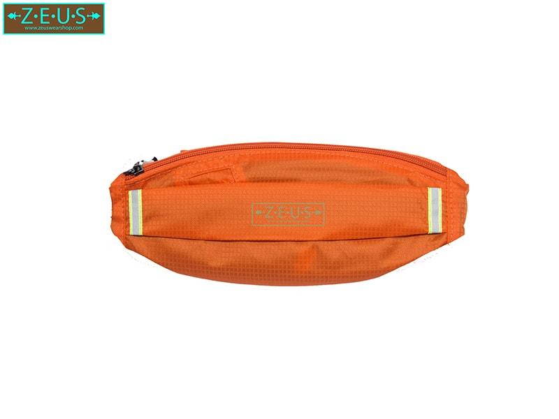 กระเป๋าคาดเอววิ่ง ผ้าร่มกันน้ำ สีส้ม ช่องใส่ของ 3 ซิป Size M