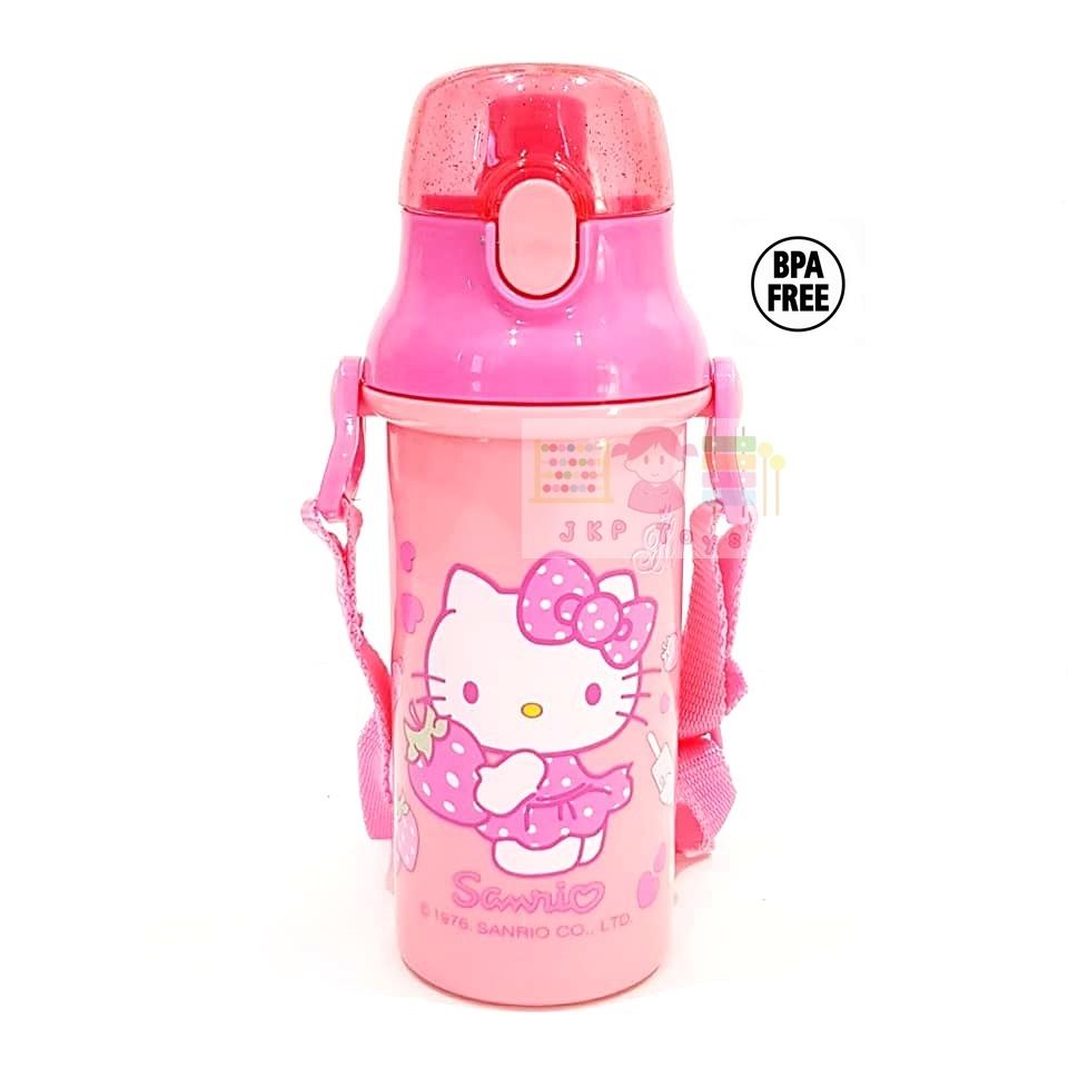 กระติกน้ำเด็ก มีสายสะพายแบบยกดื่ม + ใส่หลอดดูดได้ ลายคิตตี้ สีชมพู
